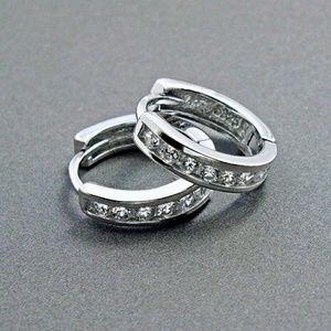 Jewelry - 925SS Simulate Diamond Channel Hoop Earrings